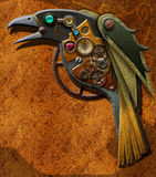 Steampunk Raven Crow. Steampunk mechanical raven crow with gears and jewels Royalty Free Stock Images