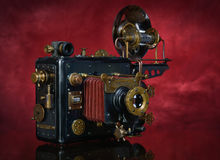 Steampunk on a red background Stock Photos