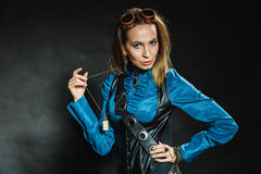 Steampunk retro girl portrait. Royalty Free Stock Images