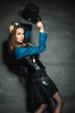 Steampunk retro girl portrait. Stock Photography