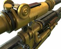 Steampunk rifle parts concept 3D illustration Royalty Free Stock Photo
