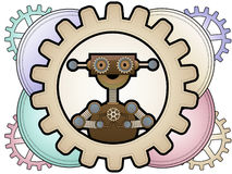Steampunk robot in colorful gears hold gears Stock Photos