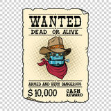 Steampunk robot cowboy wild West bandit alive or dead. Pop art retro vector illustration. Steampunk Western style. Science fiction Stock Photography