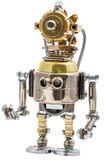 Steampunk robot. Cyberpunk style. Chrome and bronze parts. Isolated on white royalty free stock images