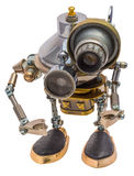 Steampunk robot. Cyberpunk style. Chrome and bronze parts. Isolated on white stock photography