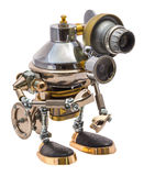 Steampunk robot. Cyberpunk style. Chrome and bronze parts. Isolated on white stock photo