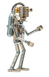 Steampunk robot. Cyberpunk style. Chrome and bronze parts. Isolated on white royalty free stock photo