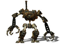 Steampunk robot from the future stock illustration