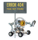 Steampunk robot holding metal sign. Cyberpunk style. Chrome and Royalty Free Stock Photos