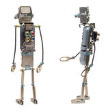 Steampunk robot. Two sides. Cyberpunk style. Chrome and bronze parts. Isolated on white stock photo