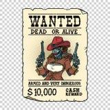Steampunk robota żeński bandyta, dziki Zachodni westernu styl ilustracja wektor
