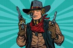 Steampunk robota kowbojski bandyta z pistoletem ilustracji