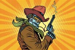 Steampunk robotcowboy med att röka, når att ha avfyrat en revolver royaltyfri illustrationer