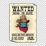 Steampunk-Roboter-Cowboywilder Westbandit lebendig oder tot vektor abbildung