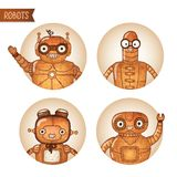 Steampunk robots iconset. Isolated vector illustration Stock Images