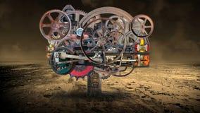 Steampunk rocznika technologii Przemysłowa maszyna ilustracja wektor
