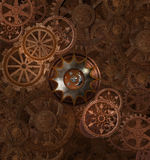 Steampunk rusty background. With gears Stock Photos