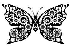 Steampunk-Schmetterling Fantastisches Insekt in der Weinleseart für Tätowierung, Aufkleber, Druck und Dekorationen lizenzfreie abbildung