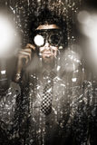 Steampunk scientist breaking the atom Royalty Free Stock Photos