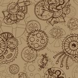 Steampunk seamless background with old cogs and mechanisms Royalty Free Stock Image
