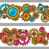 Steampunk seamless pattern of metal gears in Stock Photos