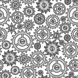 Steampunk seamless pattern of metal gears in Stock Image