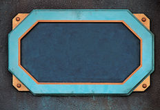Steampunk sign frame. Steampunk-inspired sign frame.  Dark blue field, light blue and copper border, copper mountings, bronze wall Royalty Free Stock Photography