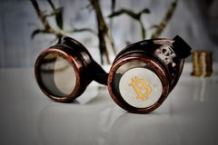 Steampunk silver bitcoin royalty free stock photography
