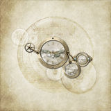 Steampunk Simplicity. Abstract art in steampunk style , on parchment background royalty free stock photos