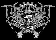 Steampunk skalle med kugghjulvektorillustrationen Royaltyfria Bilder