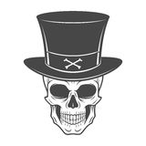Steampunk skeleton with high hat. Smiling Stock Photos