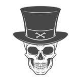 Steampunk skelett med den höga hatten le Arkivfoton