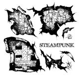 Steampunk sketch holes Stock Images