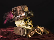 Steampunk skull with goggles. A steampunk cosplay still life Royalty Free Stock Photography