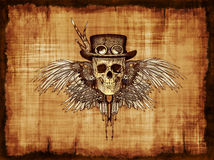 Steampunk Skull on Parchment Stock Photography