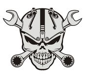 Steampunk skull and wrench Royalty Free Stock Images