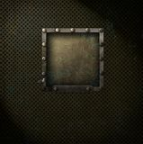 Steampunk square on metal mesh. Steampunk style frame on a grungy metal mesh background Stock Photo