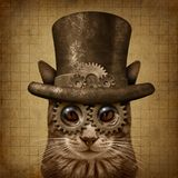 Steampunk Grunge Cat. Steampunk and steam punk grunge cat with 3D illustration elements stock illustration