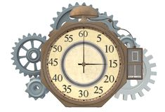 A steampunk stopwatch clock with gear train at the back. A computer generated illustration image of a steampunk stopwatch clock with gear train at the rear stock illustration