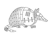 Steampunk style armadillo coloring book vector Stock Image