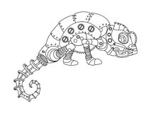 Steampunk style chameleon coloring book vector Stock Photo