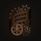 Steampunk style emblem Stock Images