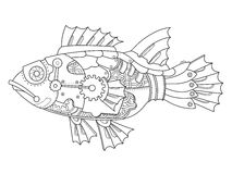 Steampunk style fish coloring book vector. Steampunk style fish. Mechanical animal. Coloring book vector illustration Royalty Free Stock Image
