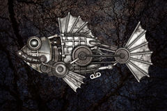 Steampunk style fish. Mechanical animal photo compilation. Steampunk style fish, european perch (Perca fluviatilis). Mechanical animal photo compilation royalty free stock photography