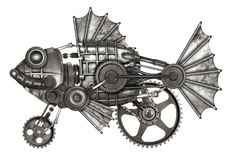 Steampunk style fish. Mechanical animal photo compilation Royalty Free Stock Images