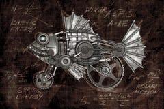 Steampunk style fish. Mechanical animal photo compilation Stock Photo