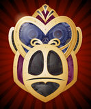 Steampunk Style Gorilla Head in Metal, Gold and Cogs. Royalty Free Stock Photos
