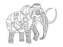 Steampunk style mammoth coloring book vector Stock Images