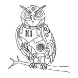Steampunk style owl coloring book vector vector illustration