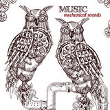 Steampunk style owl. Royalty Free Stock Photography